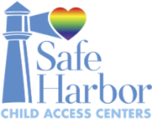 logo - image of lighthouse with pride colored heart, text says safe harbor child access centers